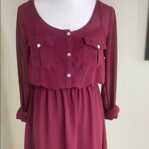 Rewind Maroon high low button up dress.